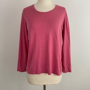 WinterSilks Pink Long Sleeve Layering Top L